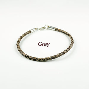 Gray Braided Leather Bracelet