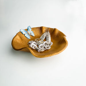 LEATHER VALET, Gold Flower with Blue Butterfly - TevaJane