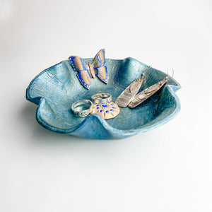 Leather Valet, Blue Flower with Blue Butterfly - TevaJane