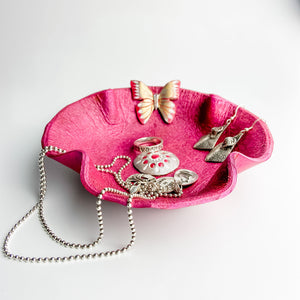 Leather Valet, Fuchsia Flower with Gold Butterfly - TevaJane