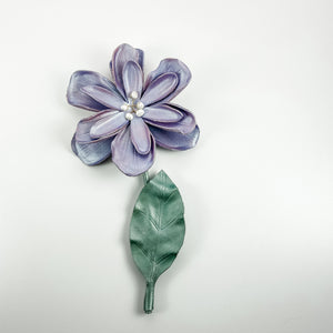 Leather Flower Wall Hanging - Purple - TevaJane