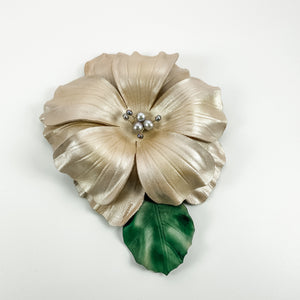 Leather Flower Wall Hanging - Pearl - TevaJane