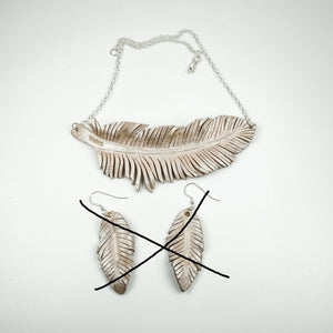 Leather Feather Necklace and Earrings - White Dove - TevaJane