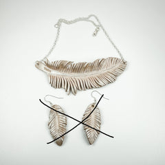 White leather feather necklace