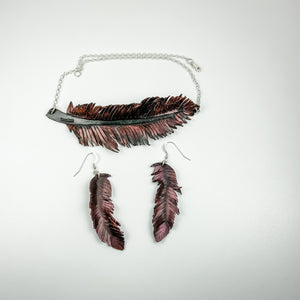 Leather Feather Necklace and Earrings - Black and Pink - TevaJane