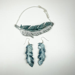 Leather Feather Necklace and Earrings - Blue Bird - TevaJane