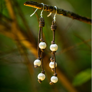 TIN CUP LEATHER AND PEARL EARRINGS - TevaJane