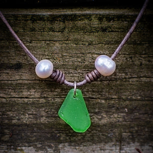CHARMED PEARLS and LEATHER NECKLACE - TevaJane