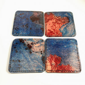 Handstitched leather coasters