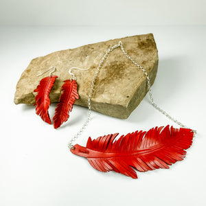 Leather Red feather necklace and earrings