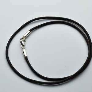 LEATHER CORD NECKLACE WITH STERLING SILVER CLASP - TevaJane