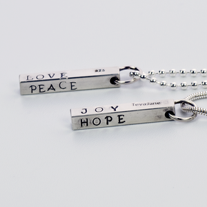 LOVE, PEACE, JOY & HOPE BAR PENDANT - TevaJane