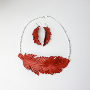 Red Cardinal feather necklace and earrings, handmade, leather feather
