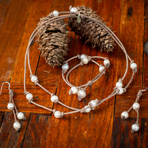 TIN CUP LEATHER AND PEARL NECKLACE - TevaJane