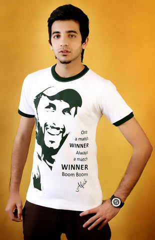 Shahid Afridi Face T-Shirt White