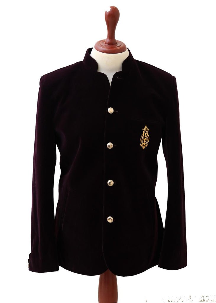 Skinny Smoking Prince Coat In Burgundy Velvet