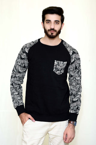 WayOut Cheetah Fleece Sweat Shirt Black