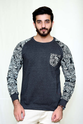 WayOut Cheetah Fleece Sweat Shirt Gray