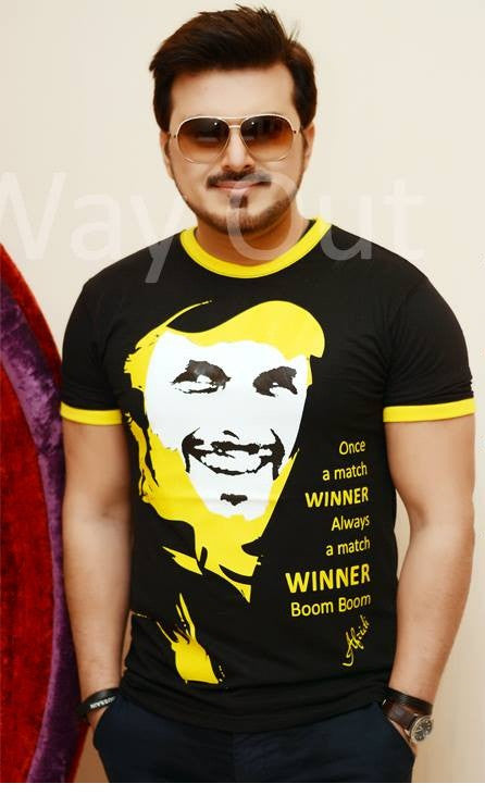Shahid Afridi Face T-Shirt Black