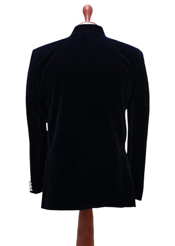 Skinny Prince Blazer Jacket In Royal Blue Velvet