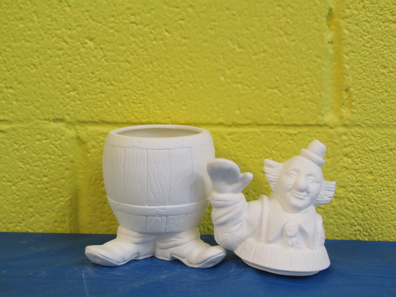 Container - Clown in Barrel, Barney, 2pc