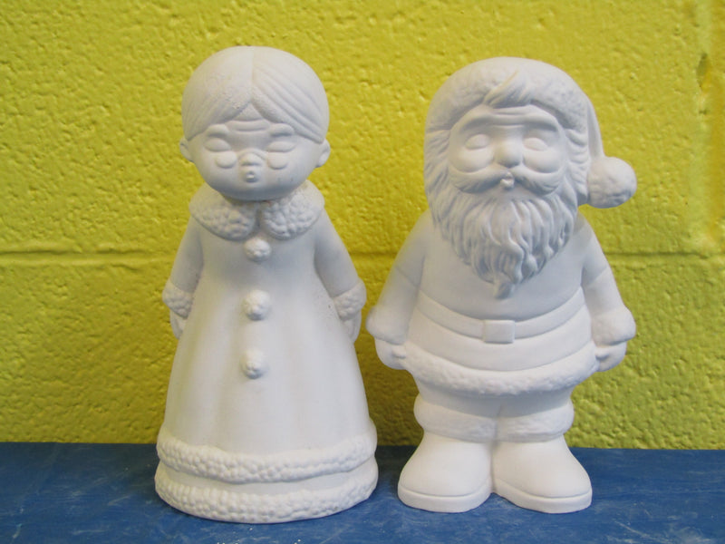 Santa - Mr & Mrs, Kissing, Lg, 2pc