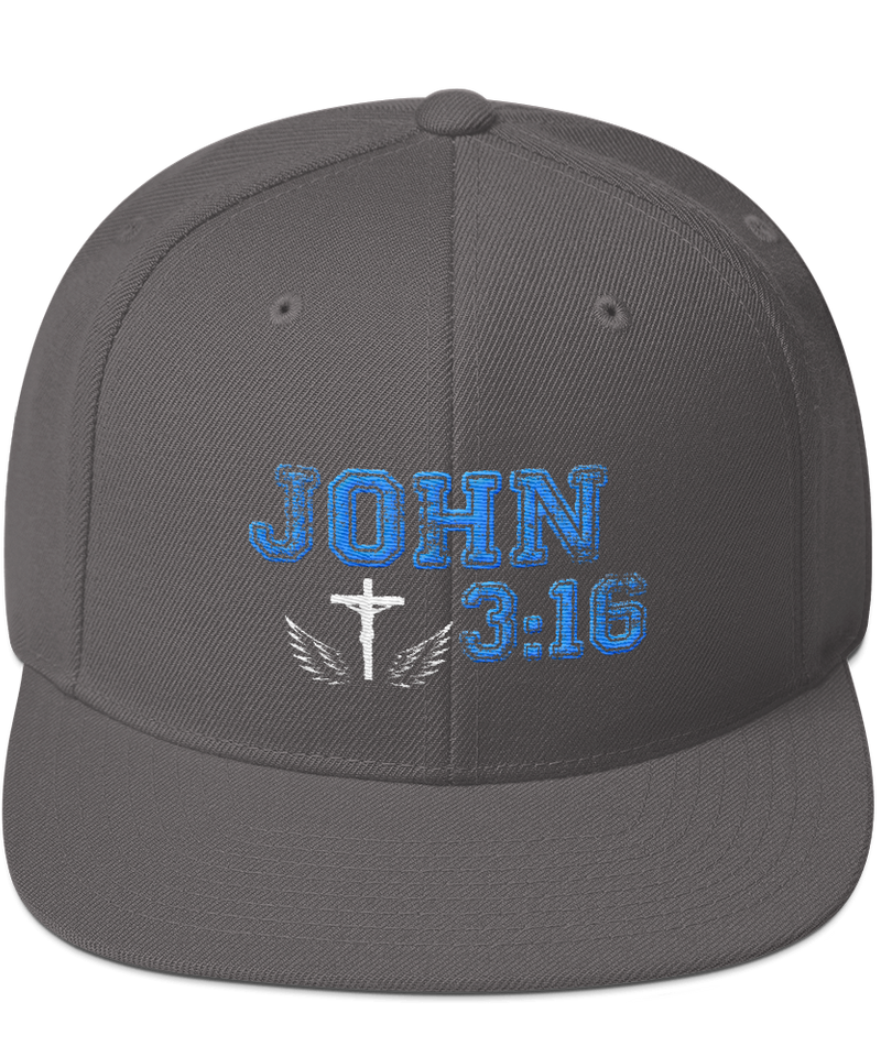 John 3:16 Snapback Hat (Dark Grey)