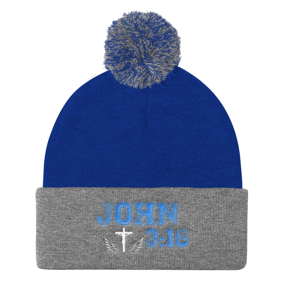John 3:16 Knit Cap (Blue / Grey)
