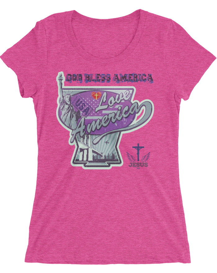 Love America (WOMEN'S FITTED) - 10 colors - Jesus Gift Store