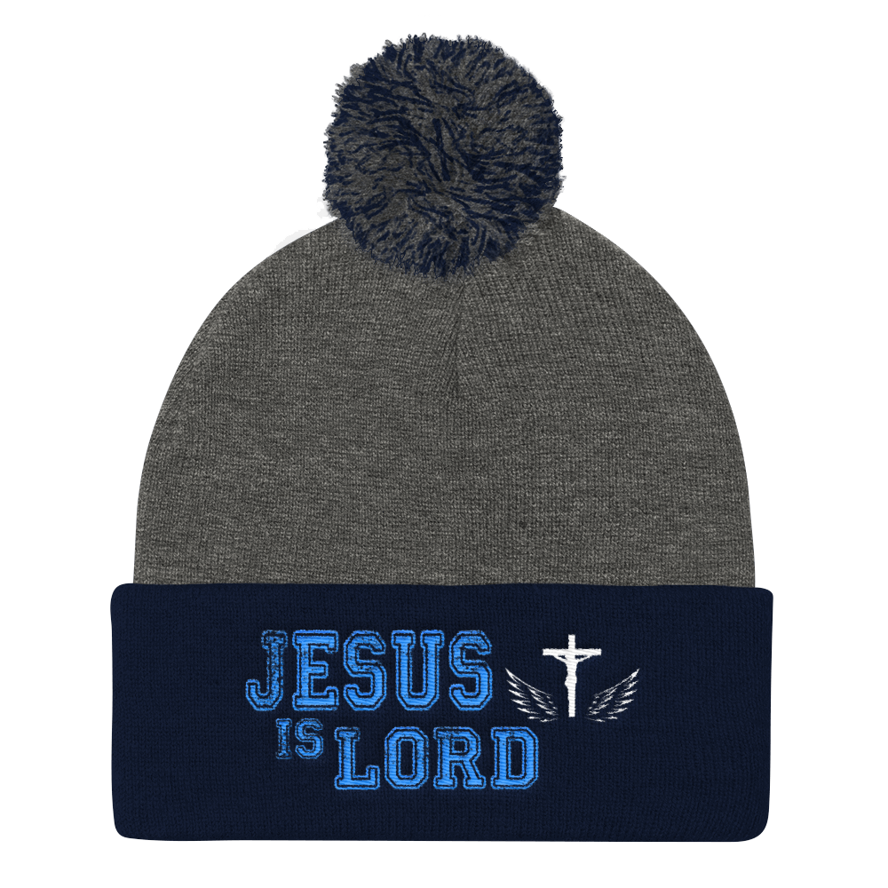 Jesus Is Lord Knit Cap (Grey / Navy)