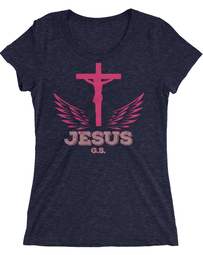 Jesus Pink Cross (WOMEN'S FITTED) - 11 colors - Jesus Gift Store
