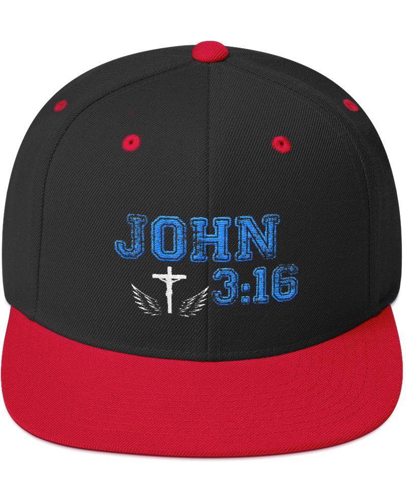 John 3:16 Snapback Hat (Black / Red)