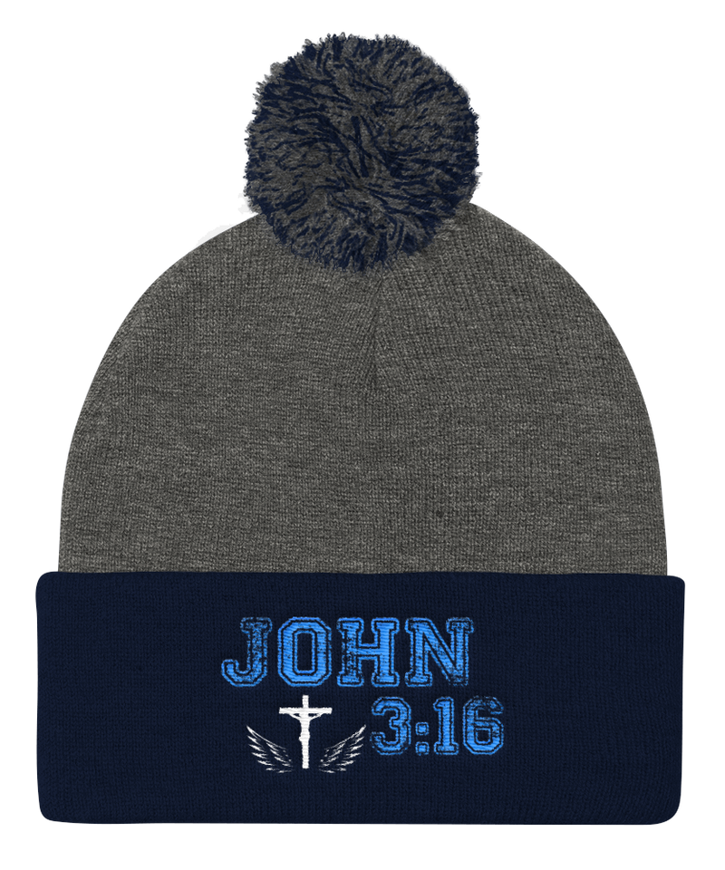 John 3:16 Knit Cap (Grey / Navy)