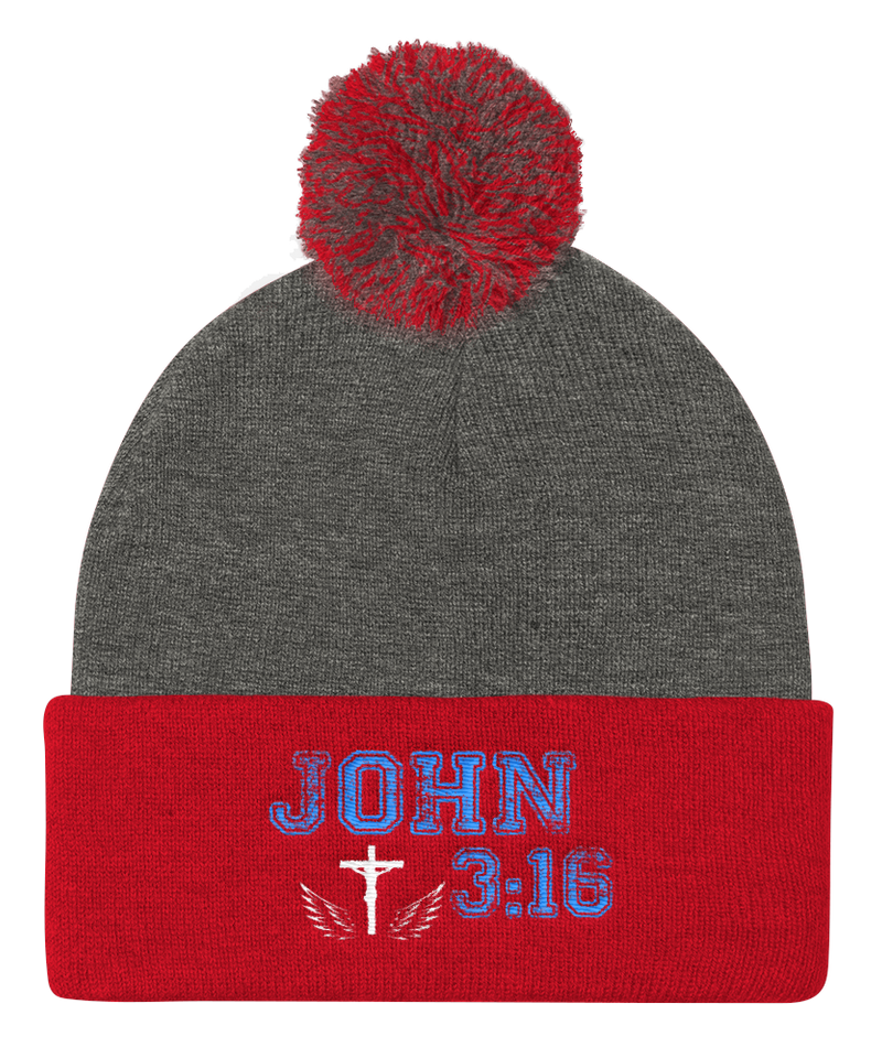 John 3:16 Knit Cap (Grey / Red)