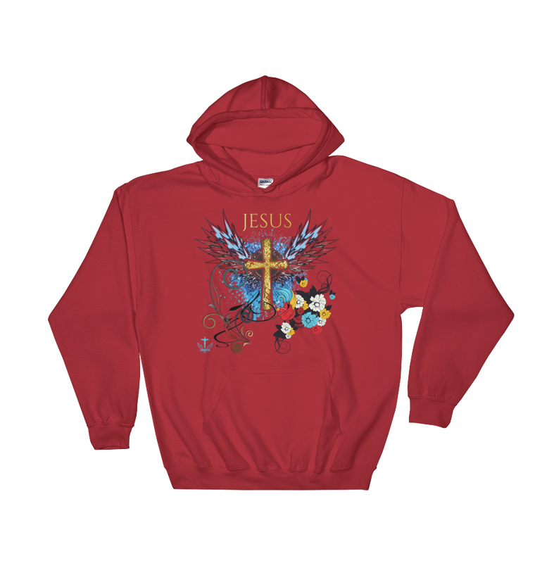 Jesus Cross (HOODED SWEATSHIRT) - in 7 colors