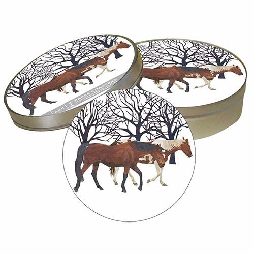Winter Horses Coaster Set
