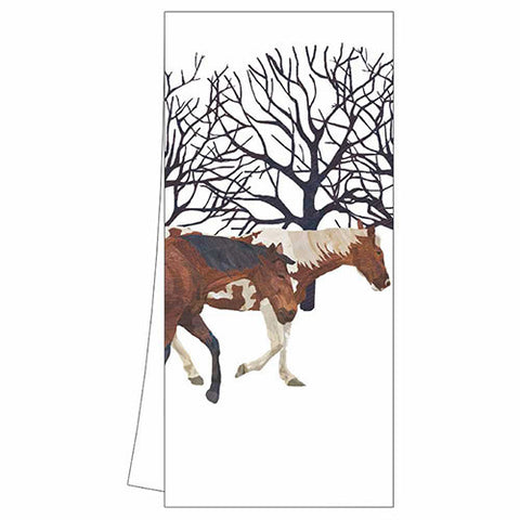 Winter Horses Kitchen Towel