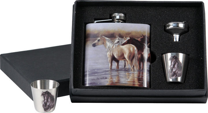 Horse Flask/Shot Glass Set 7 oz