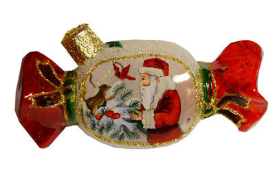 Squirrel with Santa Hand Painted Christmas Ornament