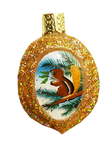 Hand Painted Inside Art Squirrel on Walnut Christmas Ornament