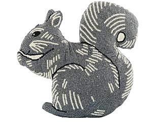 Beaded Squirrel Pillow