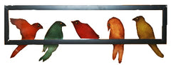 Colorful Birds In A Row Metal Wall Decor