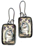 Beaded Lavender Kitten Necklace & Earrings