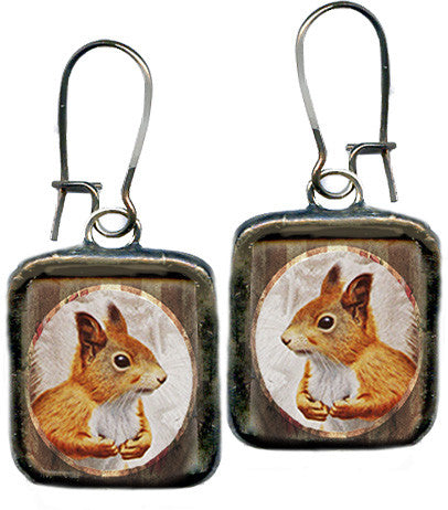 Red Squirrel Necklace and Earrings