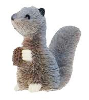 Gray Squirrel Brushkin Ornament