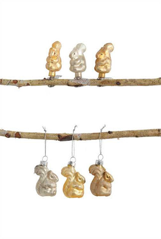 Glass Squirrel Ornaments- set of 6