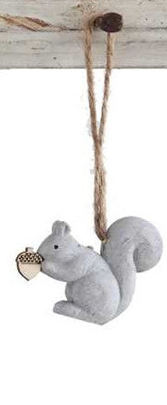 Cement Squirrel with Acorn Ornament