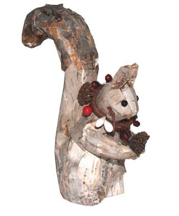 White Birch Squirrel Ornament