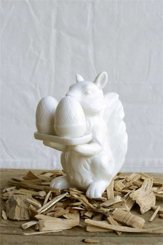 White Ceramic Squirrel Salt & Pepper Shaker w/Holder