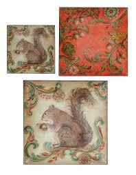 "12"" Square Decorative Trays w/ Squirrel, Set of 3"